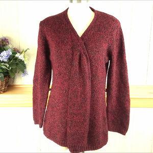 AMI Women's XL Maroon Marled Cardigan Sweater